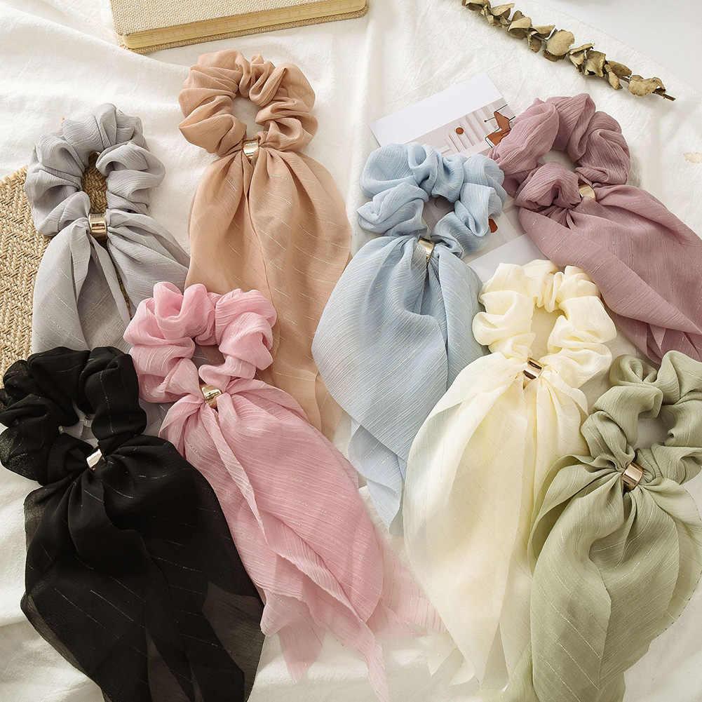 Double Layerชีฟองโบว์ยาวริบบิ้นวงScrunchieผู้หญิงสาวผมผ้าพันคอหัวเข็มขัดยืดหยุ่นยางอุปกรณ์เสริมผม