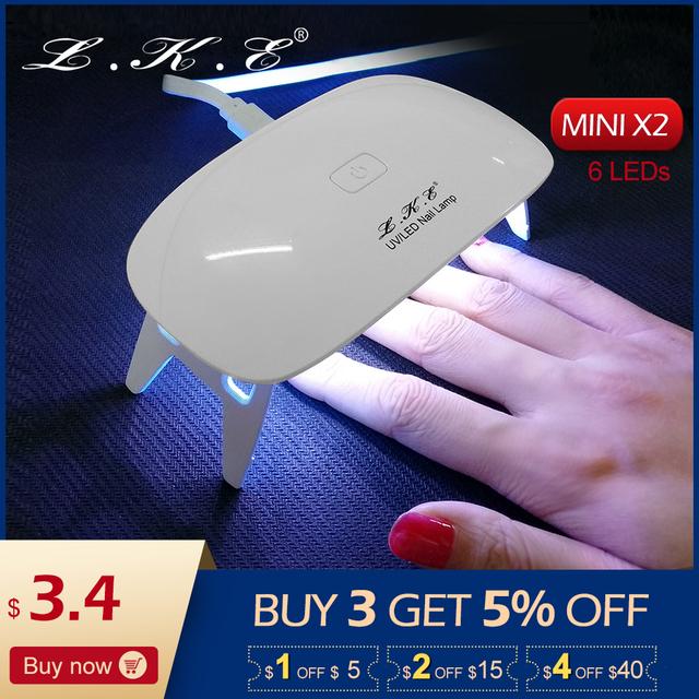 LKE 6W mini LED Nail UV Lamp Gel Nail Polish Dryer LED Drying Fingernail&Toenail Gel Curing Nail Art Dryer Manicure 2 setting