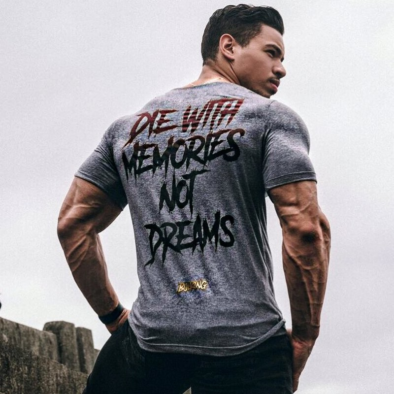 Mens Running Sport Cotton t shirt Gym Fitness Workout Training Short sleeve Slim T-shirts Male Jogging Tee Tops Brand Clothing