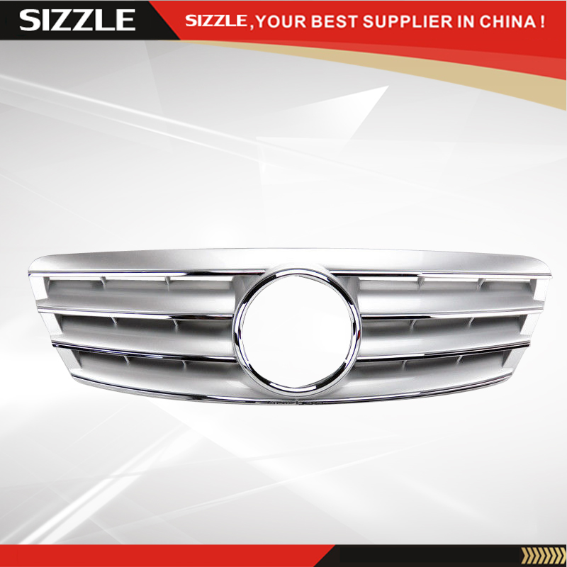 4 Fence Silver Front Grille For Mercedes C Class W203 2000 2006 CL Style