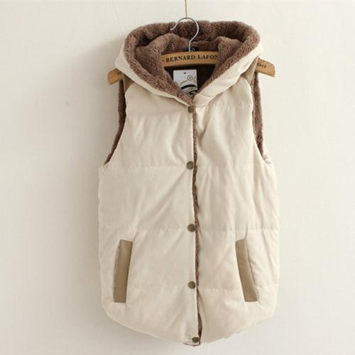 2017 Winter Thick Cotton Coat Hooded Vest Plus  Women Warm Velet Winter Sleeveless Candy Color