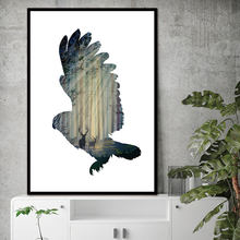 silhouette of a flying owl with pine forest Canvas Art Print Painting Poster, Wall Picture for Home Decoration No Frame(China)