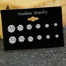 Fashion Mixing Crystal Simulated Pearl Stud Earrings 6 Pair/Set Shiny Lots of Earrings Jewelry For Women Girls Wholesale стоимость