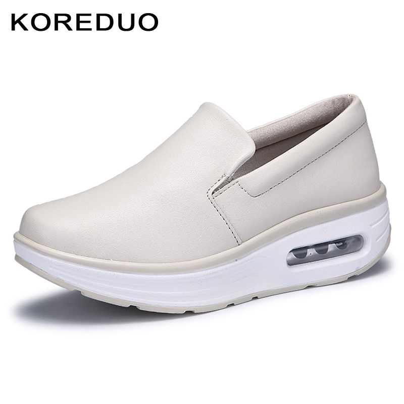 KOREDUO 2018 Autumn women flats shoes platform sneakers shoes leather casual shoes slip on flats heels creepers moccasins mw genuine suede leather women s platform sneakers 2018 women slip on flats creepers moccasins woman casual shoes black pink gray