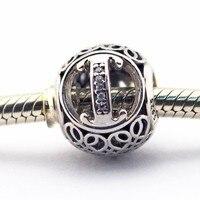 Serve para Pandora charm bracelet com Clear Cz letra I charme esterlina 925-prata-jóias DIY Fazendo atacado