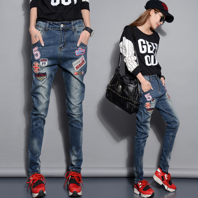 Spring new Korean version of personality badge jeans wear white ...