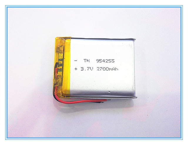 3.7V,2700mAH 954255 polymer lithium ion / Li-ion battery for model aircraft,GPS,mp3,mp4,cell phone,speaker,bluetooth