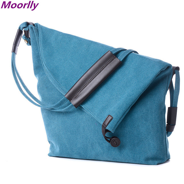 Moorlly 2016 Women Canvas Bag Ladies Large Grey Cotton Bag Crossbody Bags  For Women Vintage Leather Handbags Unisex Bag Men 10c3863ac2925