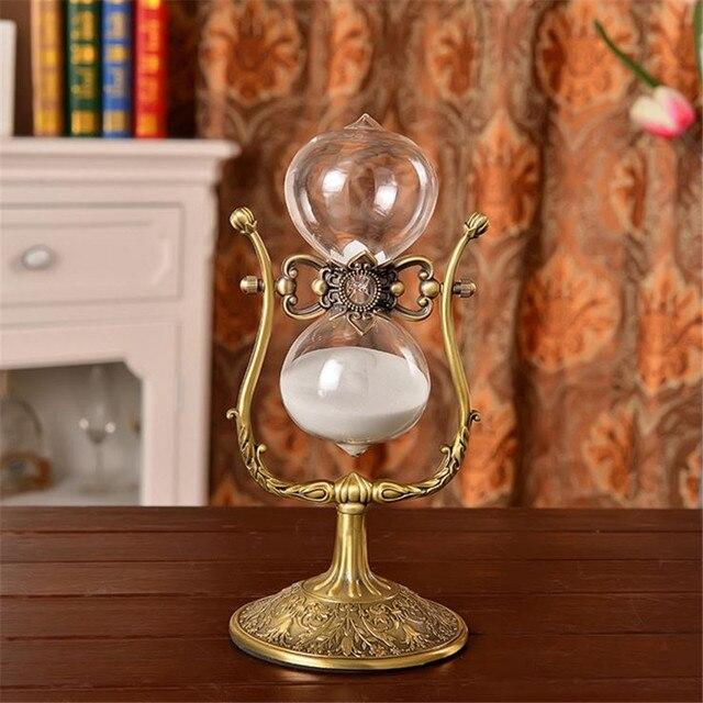 $ US $58.50 1 Hour Hourglass Rotating Hourglass Metal Antique 60 Minutes Flip 30cm Sand Timer Reloj De Arena Temporizador Da Areia Ampulheta