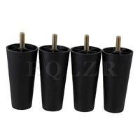 4x Round Tapered Black Plastic Furniture Legs For Sofa 120x 60 X 38mm BQLZR