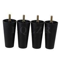 4x Round Tapered Black Plastic Furniture Legs For Sofa 120x 60 X 38mm BQLZR