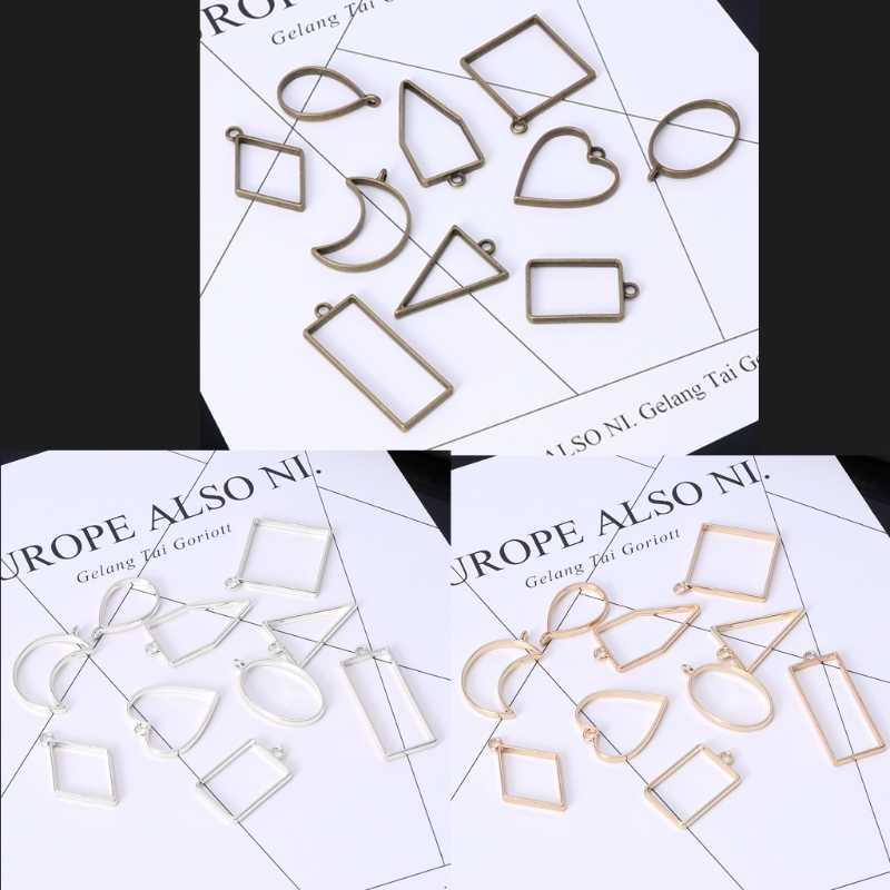 10 tính Các Loại Hình Học Rỗng Ép Khung Hoa Mặt Dây Chuyền Nhựa Trang Sức Làm Thủ Công DIY rỗng trống Mặt Dây Chuyền khung Giáng Sinh
