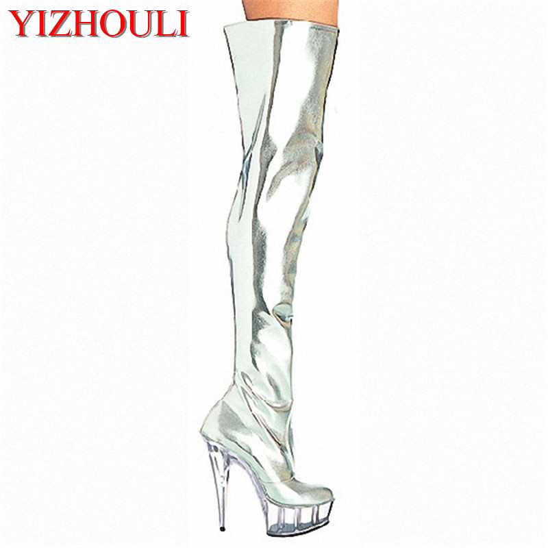 hot sale and retail over the knee silver patent leather womens 6 thigh high boots sexy motorcycle boots 15cm clear Dance Shoes