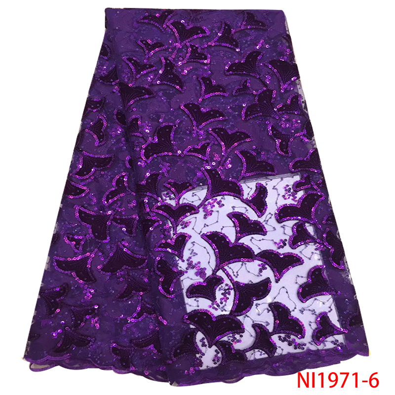 Latest Style French Tulle Lace Fabric 2019 African Net Lace Fabric Nigerian Mesh Laces With Sequins Purple 5yards KSNI1971-6