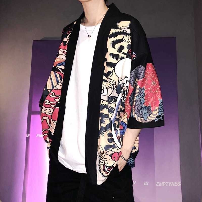 기모노 남성 일본식 기모노 전통 남성 기모노 카디건 남성 하라주쿠 streetwear 사무라이 의상 유카타 남성 하오리 오비 FF001A