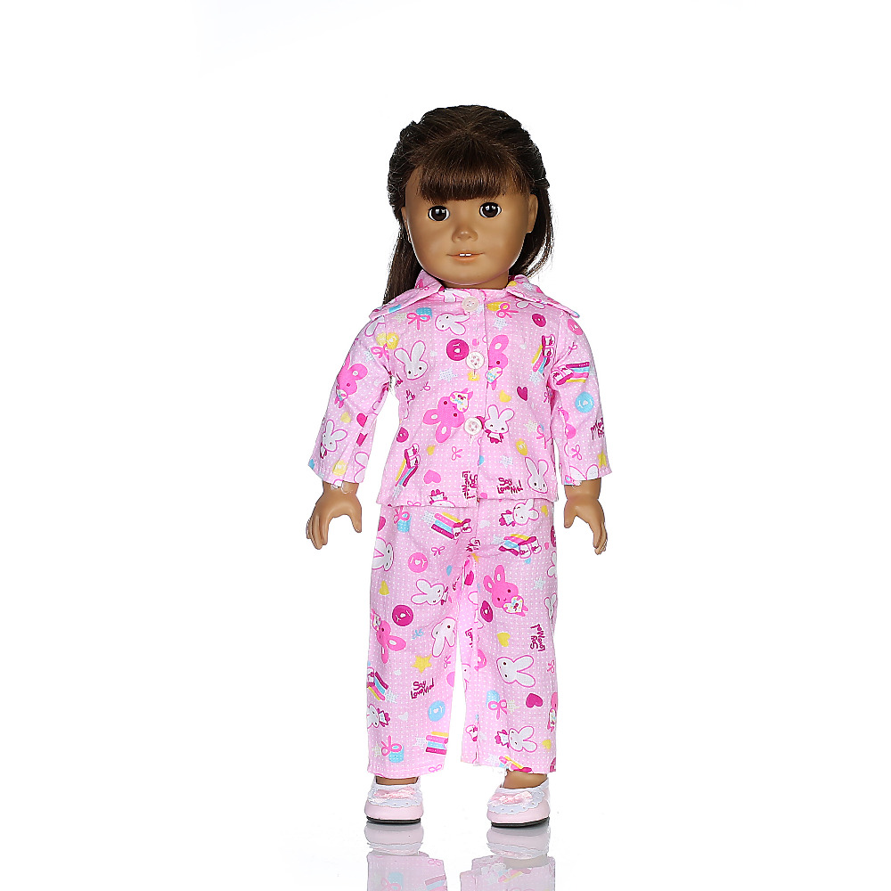 Christmas gifts, fashion winter hot pink pajamas. fit 18 inch American Girl dolls and dolls of our generation