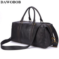DAWOBOB Brand Genuine Leather Men's Large Travel Bags Black Bucket Handbags Weekend Big Shoulder Bag Men Business Luggage Bag