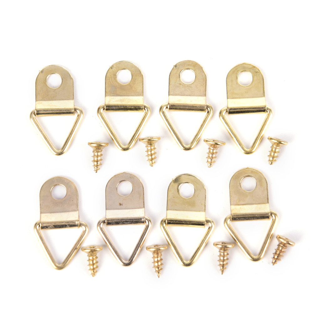 JETTING 100Pcs Picture Hanger Photo Frame Hanging Triangle D Rings Golden Picture Frames Single Hole Hanger Hooks with Screws 50pcs lot wire hanger fastener hanging photo picture frame quick easy clutch release nickel plate movable head ceiling