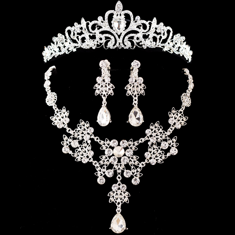 Necklace Earrings Tiara Bridal-Jewelry-Sets Crystal Brides Silver Fashion Wedding
