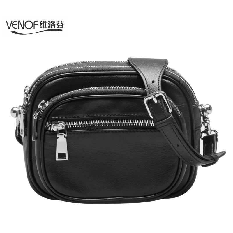 цена VENOF genuine leather mini crossbody bag for women black white ladies wide straps small Shoulder messenger bag bolsa feminina