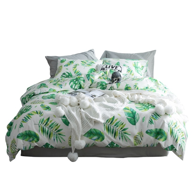 665a213291 TUTUBIRD tropical leaf plant print bed linen bedding set 100% cotton  Bohemian duvet covers 4pcs. Mouse over to zoom in