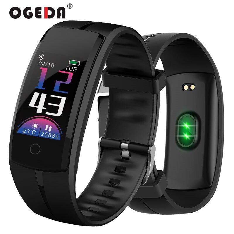 Smart Uhren OGEDA Männer Smart Armband Armband Schrittzähler Herz Rate Nachricht Erinnerung Für IOS Android-Handy Bluetooth 4,0