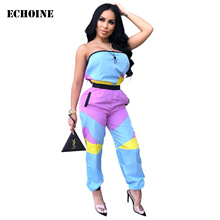 Strapless Jumpsuit Patchwork Slim Casual Women Sexy Playsuit Club Wear Outfits Female Rompers Overalls Summmer