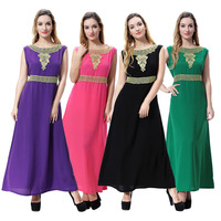 Women Muslim Abaya Maxi Tunic Dress Jalabiya Emboridery Long Robe Islamic Prayer Clothing Middle East Arabic Ramadan CN 071