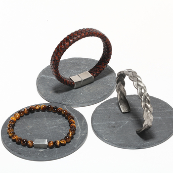 Braided Leather + Titanium Chain Cuff set or separetly 5