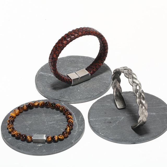 Braided Leather + Titanium Chain Cuff set or separetly 5