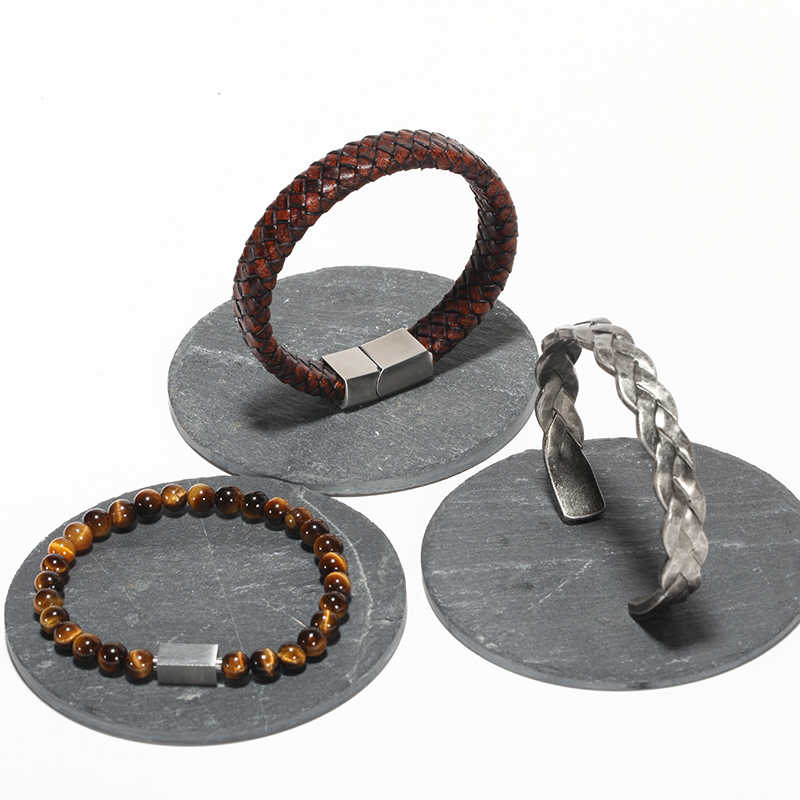 Mcilroy bransoletki męskie typu bangle/ze stali nierdzewnej/Vintage/skóra/modny/bransoletki bransoletki Twisted plecionki titanium przewody mankiet bransoletka 2018