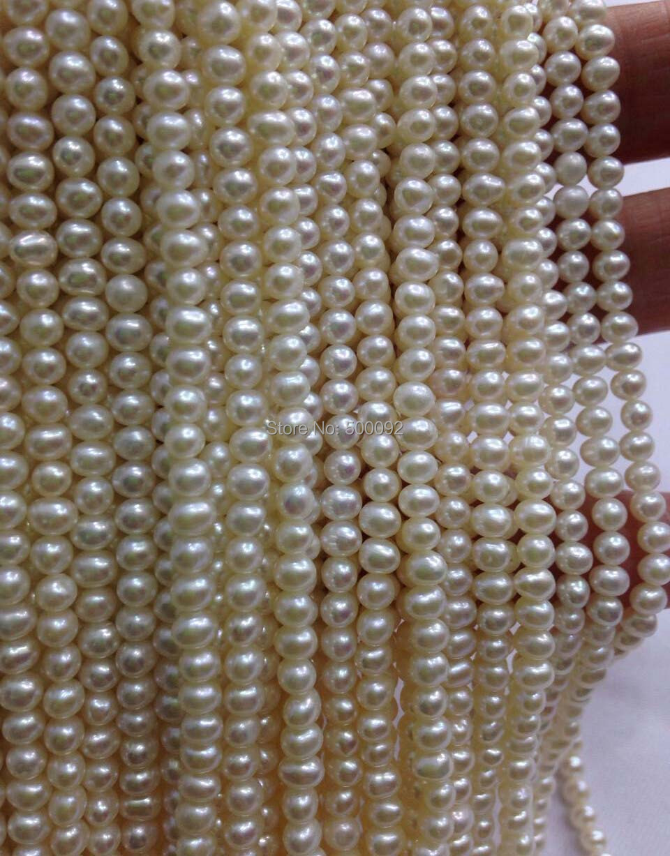 AAA 10 Qty 3.3-3.5mm near round white genuine cultured pearl strands