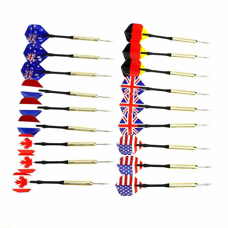 1 pièces de haute qualité en acier dur aiguille pointe fléchettes avec drapeau National vol vols jouet offre spéciale fléchettes accessoires fléchettes pointe en acier