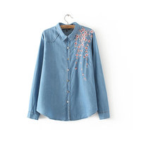 Women Denim Blouse Shirt Plus Size Long Sleeve Embroidery Floral Shirts 2017 Spring Summer Clothing Female