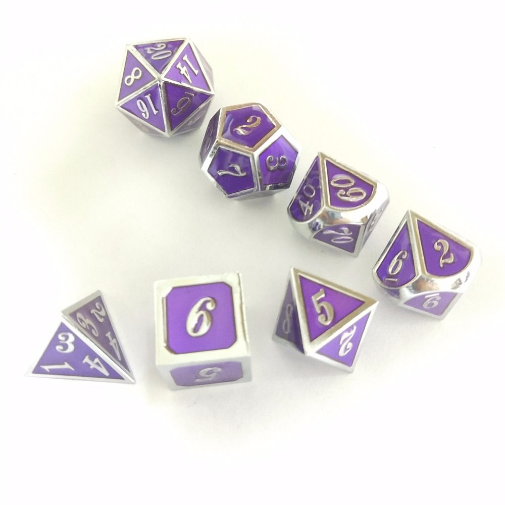 factory Outlet New font Dungeons & Dragons 7pcs/set Creative RPG Dice D&D electroplating purple