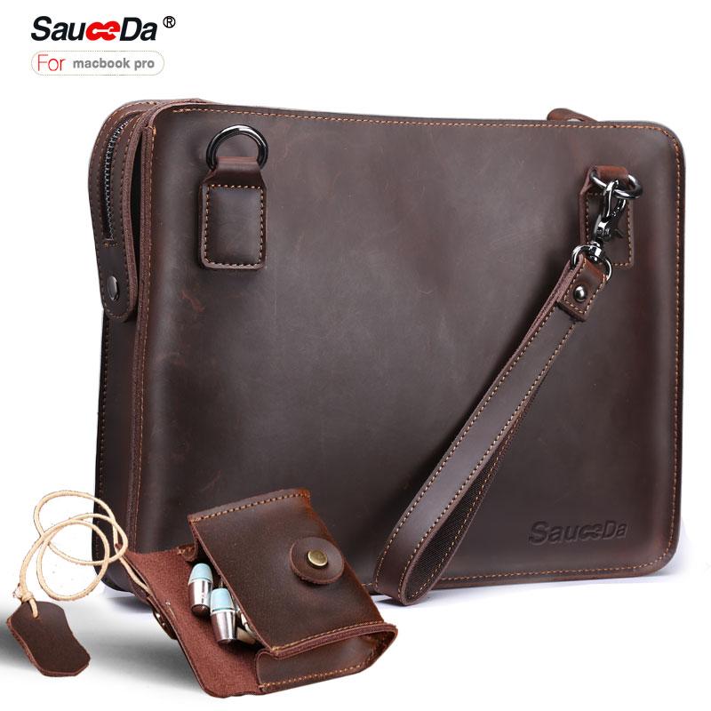 Sauceda Pour macbook pro 13 cas Véritable couverture En Cuir pour macbook air 11 13.3