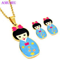AMUMIU kimono Japanese doll Statement Cartoon Earrings Necklace Jewelry Sets For Women Girls Teen Kid Gift Accessories JS060(China)