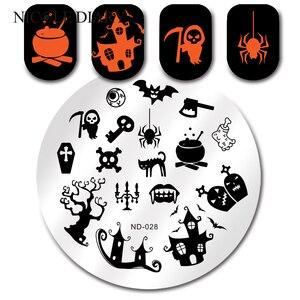 Image 1 - NICOLE DIARTY Halloween örümcek hayalet tırnak yapıştırması yuvarlak damga şablon tırnak sanat görüntü plakası ND 028