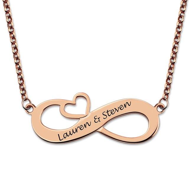 6359454f623c AILIN Rosa Color oro personalizado collar del corazón del infinito  eternidad amor collar grabado nombre Collar