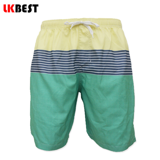 LKBEST Новая мода полосатый Мужчины пляжные шорты сетчатая Подкладка Повседневная свободные мужчины Boardshorts плюс размер мужской бермуды купальники turcks Q108