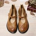 Women Genuine Leather Flat Shoes Vintage Black/Brown Nude Designer Oxford Shoes Flatfeet Hook&Loop Flats Mori Girl Design (7888)