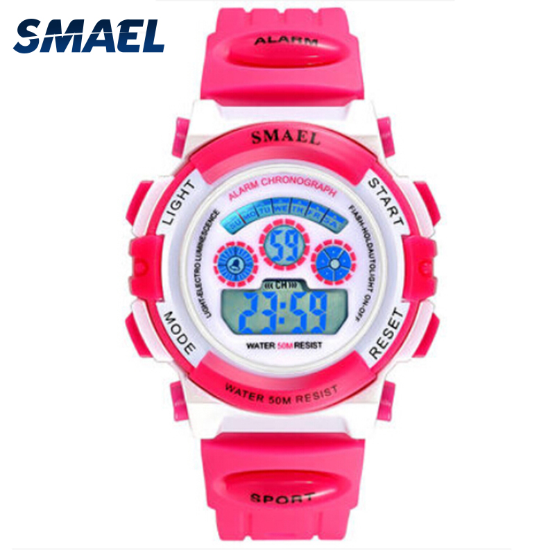 Children Colorful Style Watches SMAEL Brand Sport Watches Digital Children's Watch 50M Swim Dress LED Auto Date Hot Clock 0704b