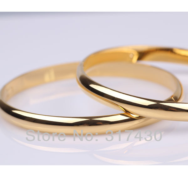 Whole Retail 2pcs Lots Solid 18k Yellow Gold Filled Round Plain Womens Bracelet Bangle