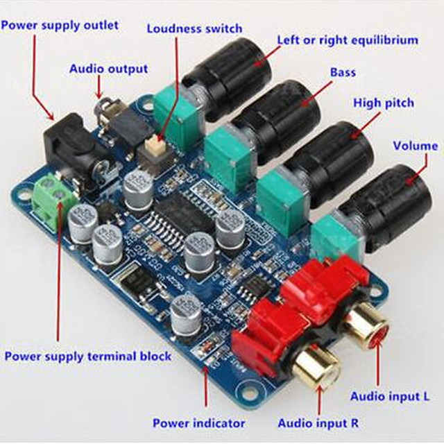 LM1036 + NE5532 Preamplificador Bordo Tono Preamplificador Estéreo Del Tablero Del Amplificador DIY