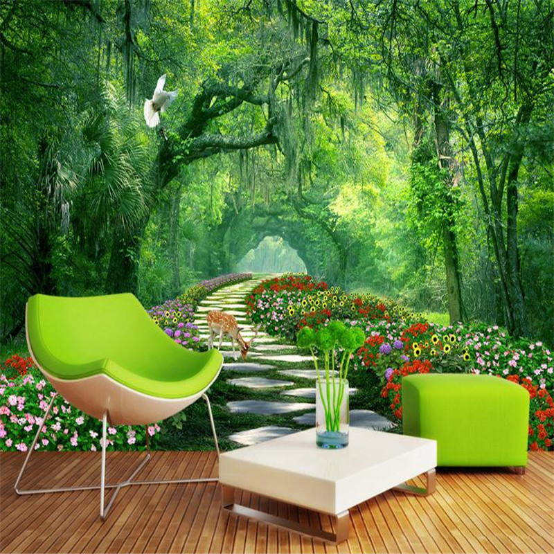 custom 3d photo wallpaper modern home decor wallpaper living room bedroom background wall mural forest nature landscape old tree custom baby wallpaper snow white and the seven dwarfs bedroom for the children s room mural backdrop stereoscopic 3d