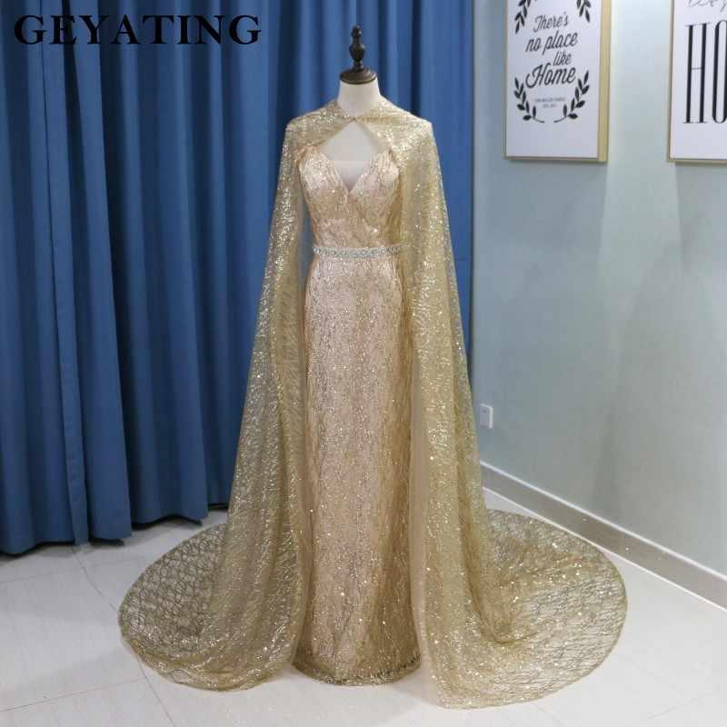 024f1147fc ... Glitter Sequin Gold Mermaid Long Arabic Evening Dress with Cape Abaya Kaftan  Dubai Formal Prom Dresses ...