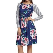 ФОТО autumn spring women floral print dress vintage elegant casual long sleeve street dresses patchwork knee length bodycon vestidos