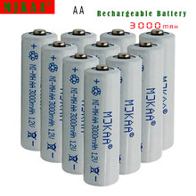 10pcs AA 3000mAh 1.2 V Quanlity NI-MH Rechargeable Battery AA 3000mAh 2A Battery NiMH Battery 10x aa 3000mah 10x aaa 1800mah 1 2v nimh green color rechargeable battery cell 2a 3a for flash light toys battery