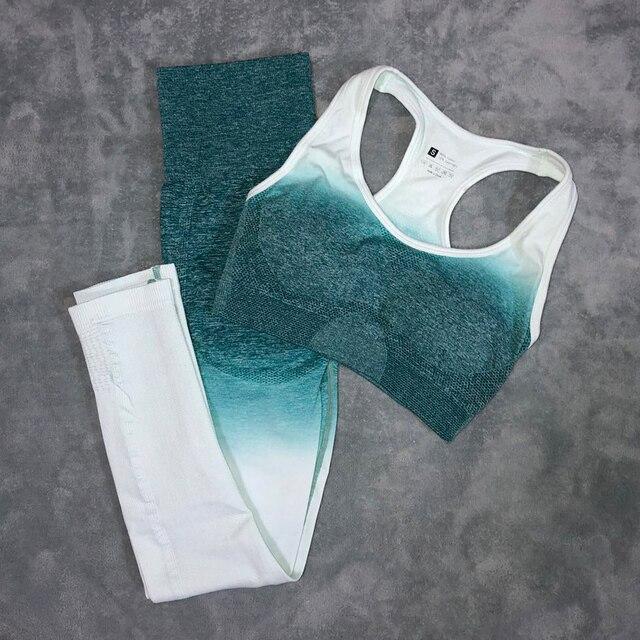 スポーツ女性のためのジムヨガセットフィットネス服オンブルシームレススポーツレギンス + スポーツブラ 2 ピースランニングスポーツ着用