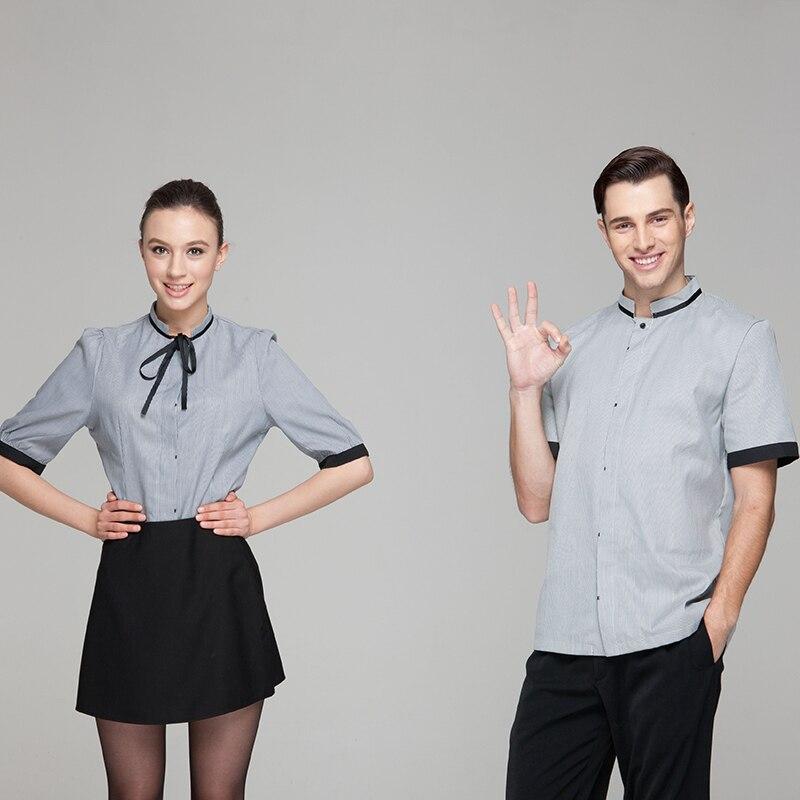 uniforme Hotel mujer restaurante corta hombre camisa camarero manga blusa con camarera Moda aUwEtqxq
